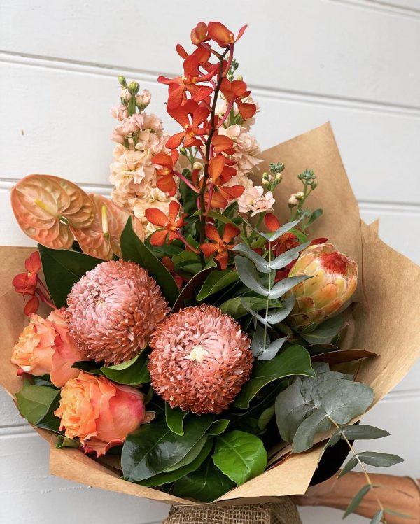 peach and orange flower arrangement