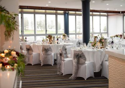 table setting of white and grey for an event