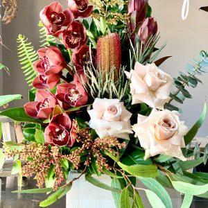 flower arrangement in a ceramic pot