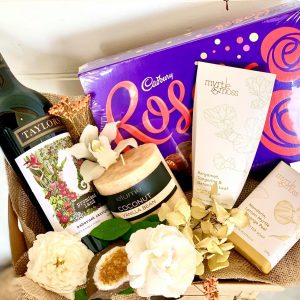 wine, chocolates, and candle package